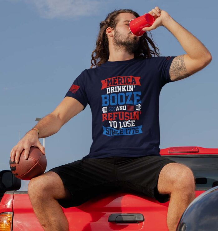 t-shirt says - 'merican_drinkin' and refusing to lose since 1776 on navy men's