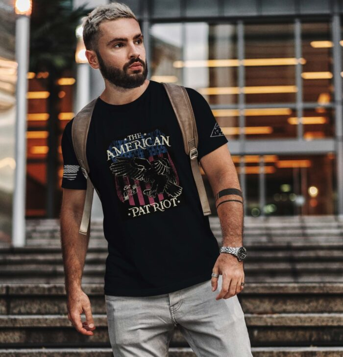 t-shirt american patriot over eagle and flag on black men's
