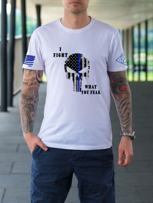t-shirt with blue line punisher on white