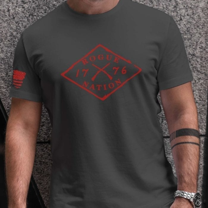 t-shirt full front red letters charcoal men's
