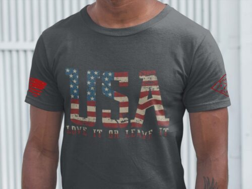 t-shirt with love it or leave it on charcoal men's