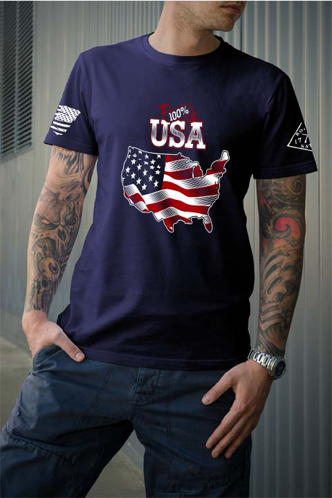 100 percent usa navy men's