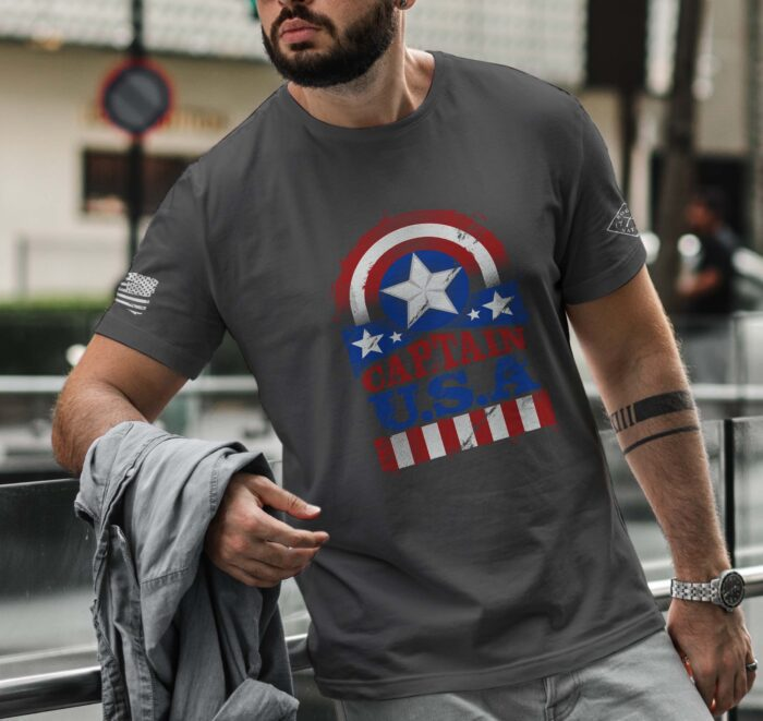 t-shirt with Captain USA on Charcoal mens