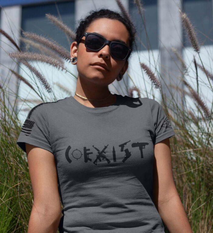 t-shirt coexist on charcoal women's