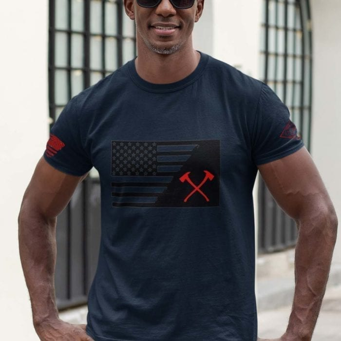 t-shirt crossed ax with flag on navy mens