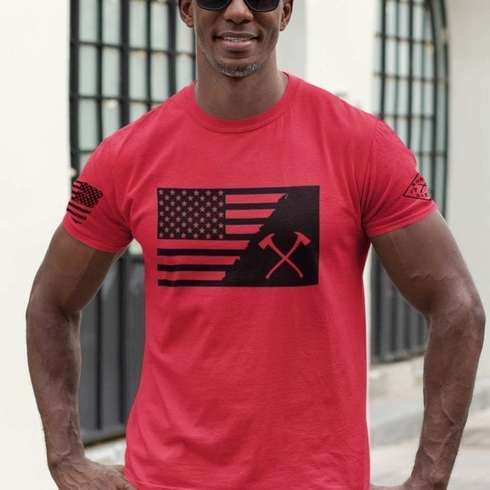t-shirt crossed ax with flag on red mens