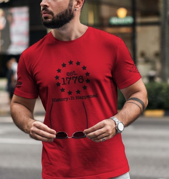 t-shirt history it happened red mens
