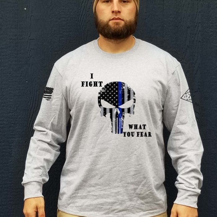 t-shirt I fight what you fear long sleeve heather grey mens