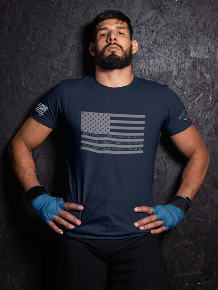t-shirt isaiah 6:8 on navy men's