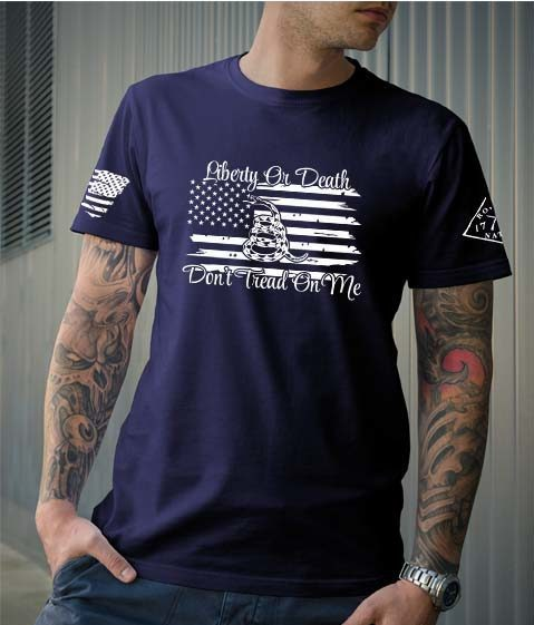 t-shirt liberty or death navy men's