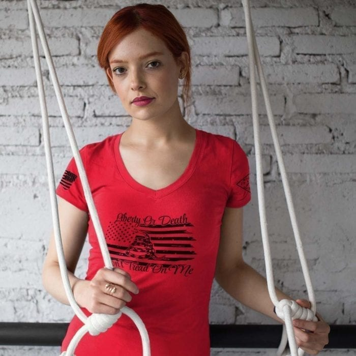 vneck liberty or death red womens