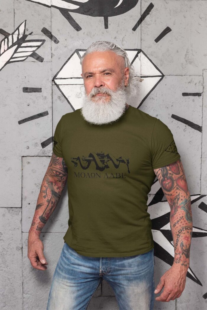 t-shirt molon labe snake on royal men's