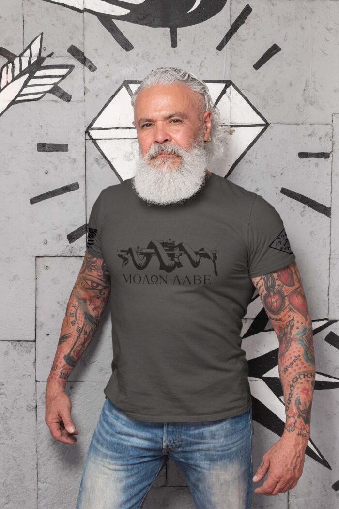 t-shirt with molon labe on charcoal men's