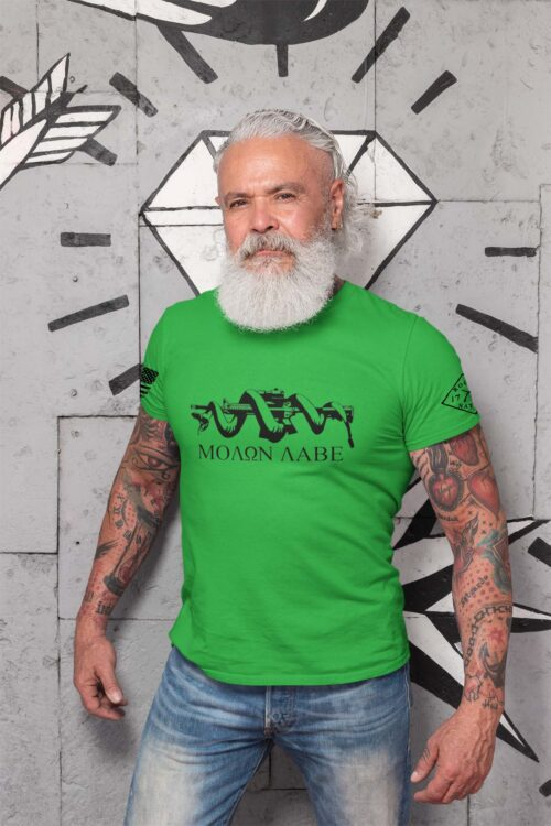 t-shirt with molon labe on grass men's