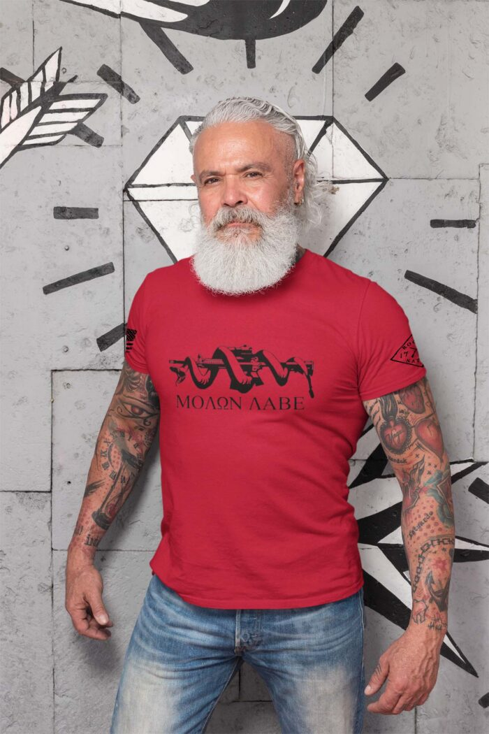 t-shirt with molon labe on red men's