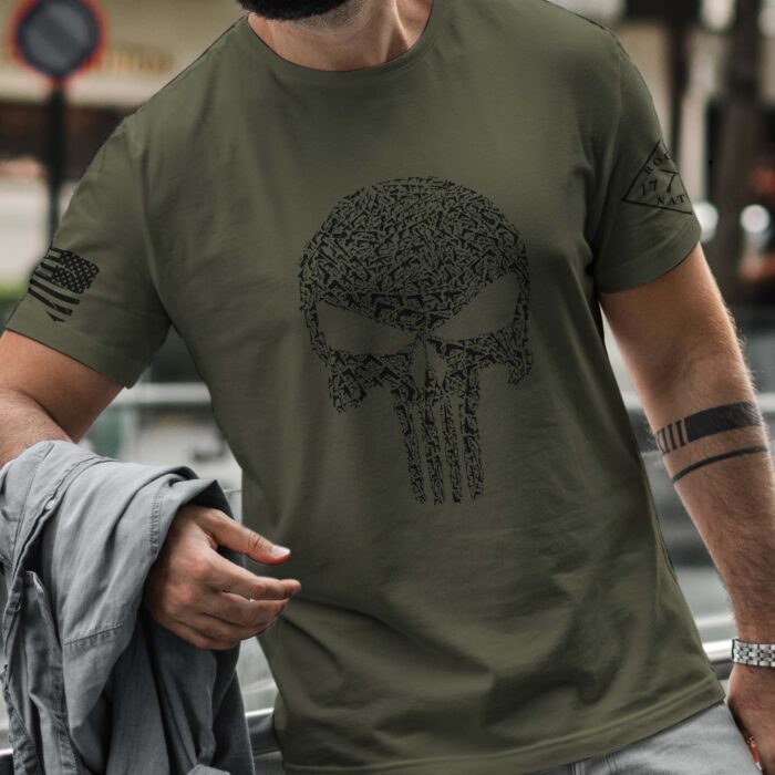 t-shirt with punisher guns on army mens