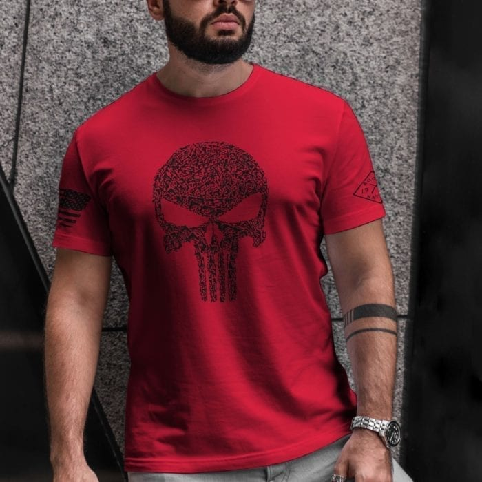t-shirt with punisher guns on red mens