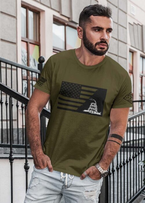 t-shirt ripped flag with gadsden on army men's