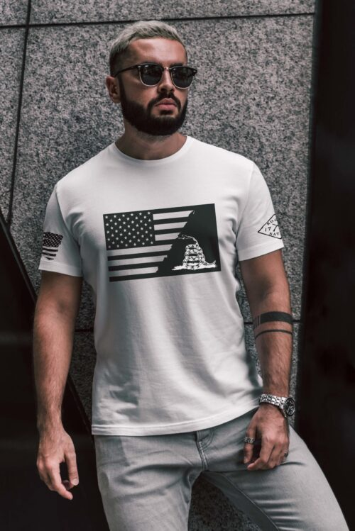 t-shirt ripped flag with gadsden on white mens