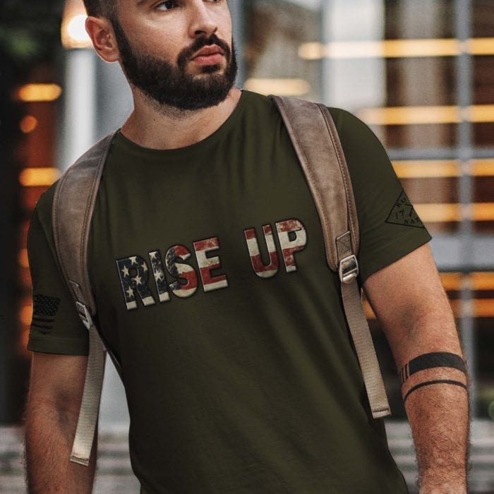 t-shirt with rise up on army men's