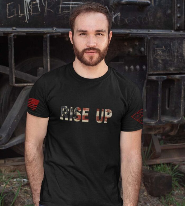 t-shirt with rise up on black men's