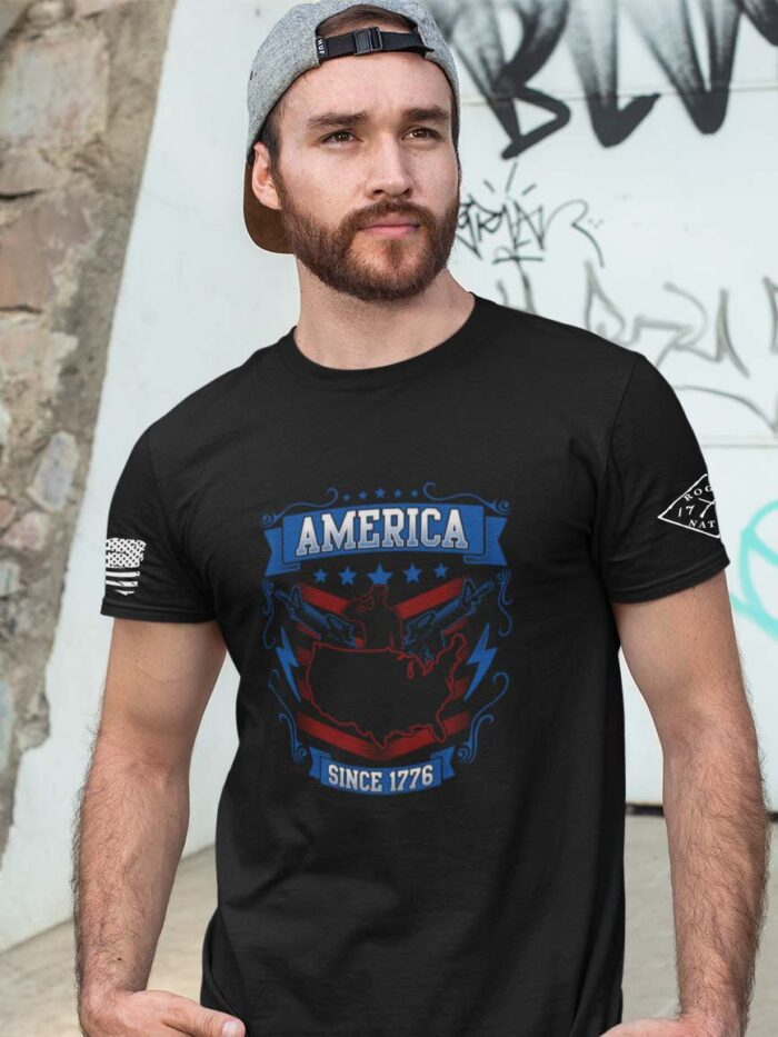 t-shirt with salute 1776 on black men's