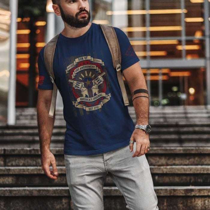 t-shirt with son of 2nd on navy mens