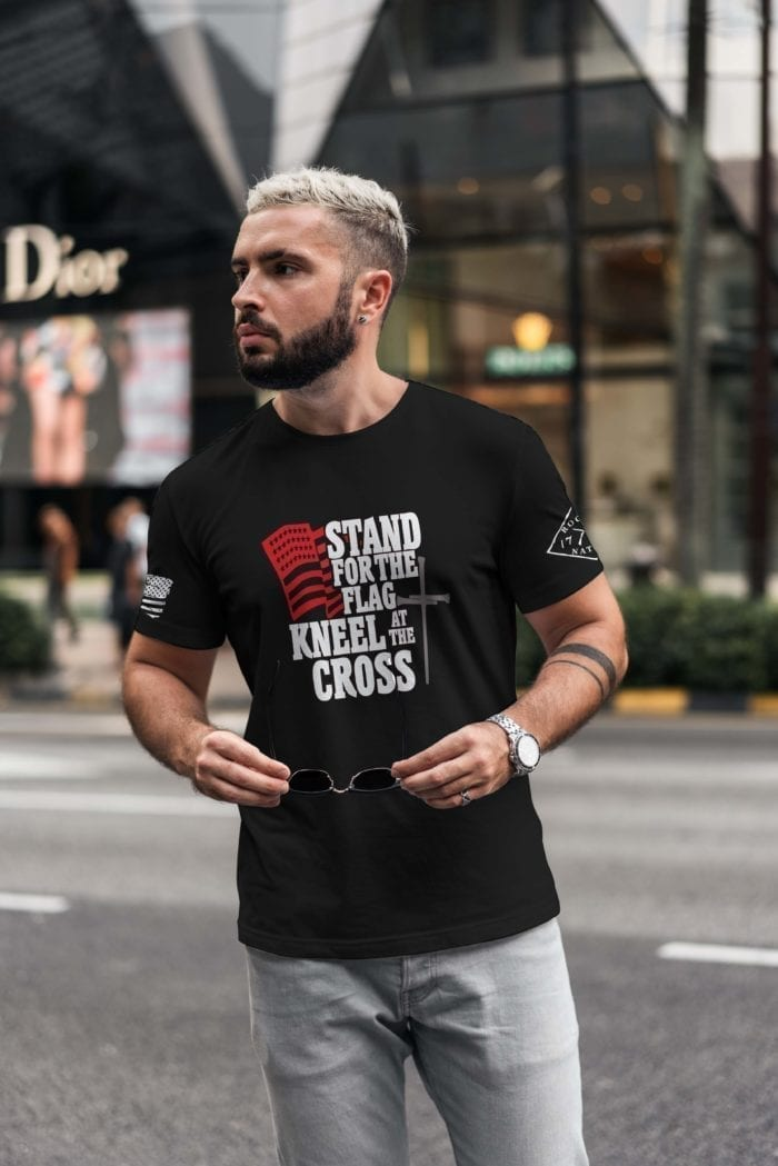 t-shirt with stand for the flag on black men's