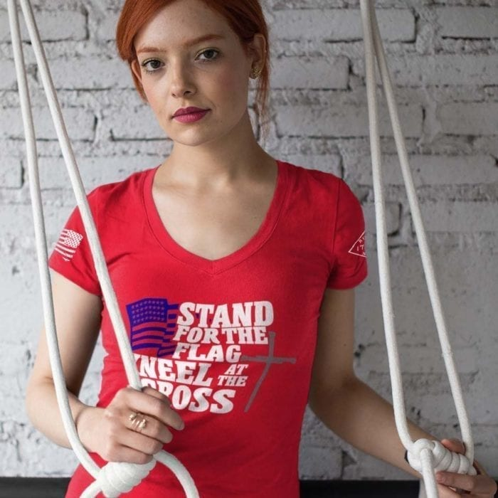 vneck stand for the flag red womens