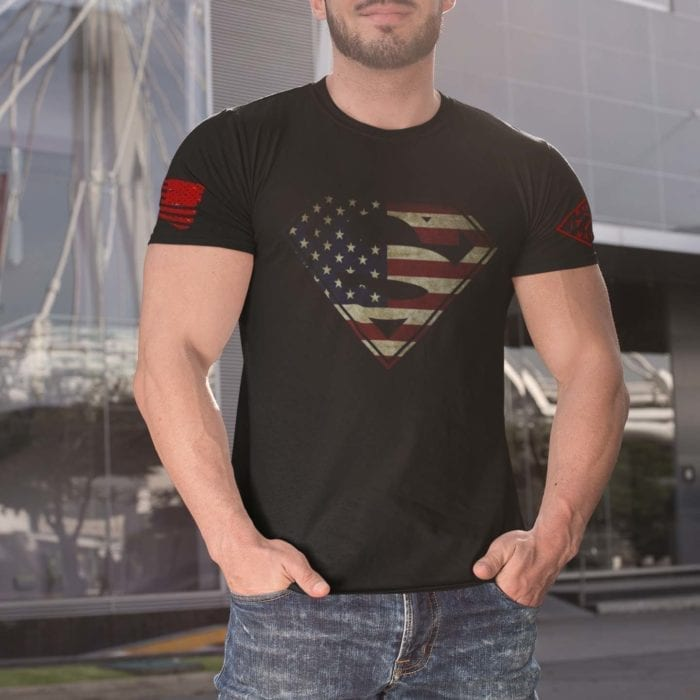 t-shirt with superman on black mens