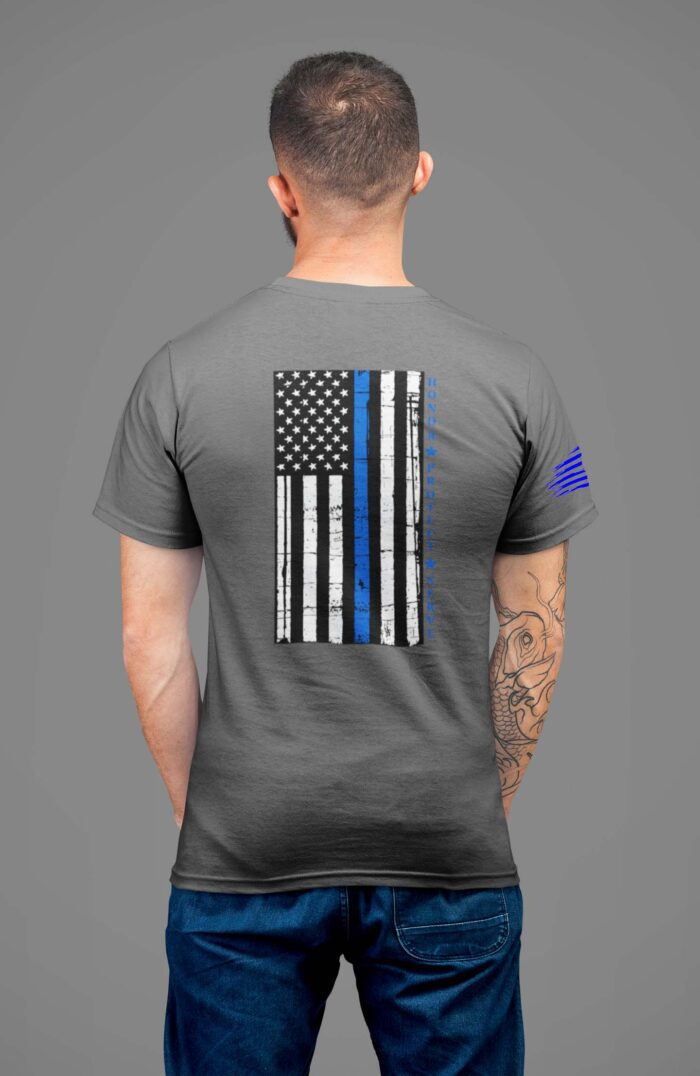 t-shirt with thin blue line and honor, protect, serve on back on charcoal mens