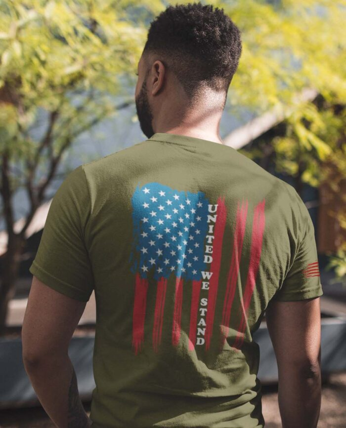 t-shirt with united we stand on back on army men's