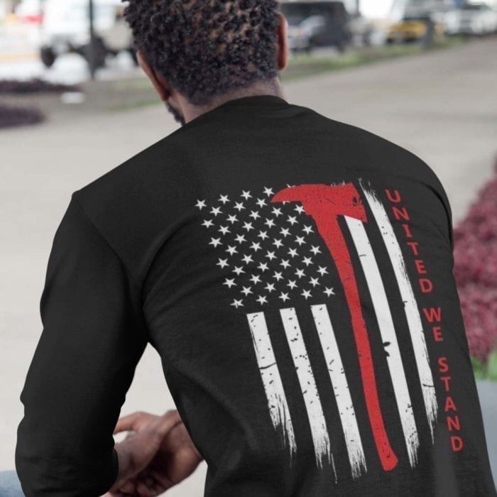 united we stand long sleeve on black men's