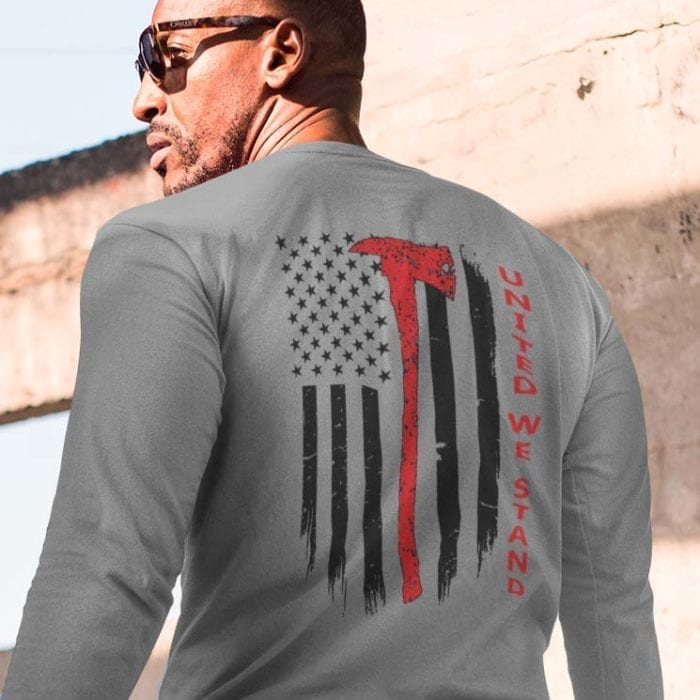 t-shirt united we stand fire on heather grey back long sleeves men's