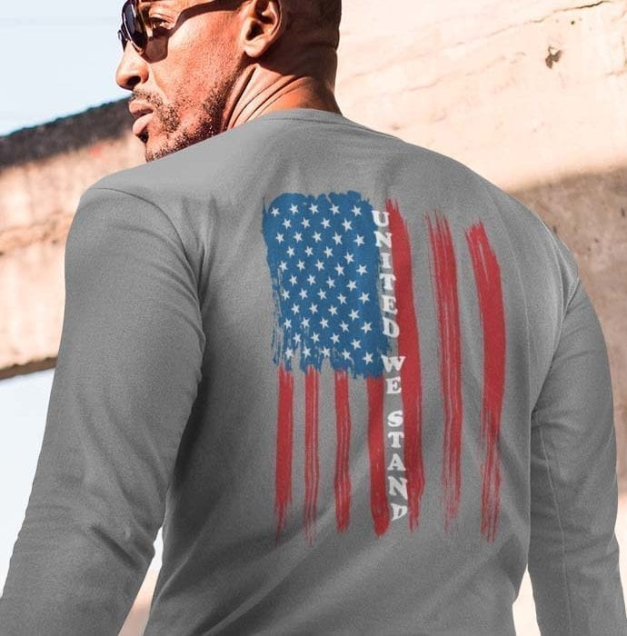 United We Stand Heather Grey Long Sleeve Men's T-shirt
