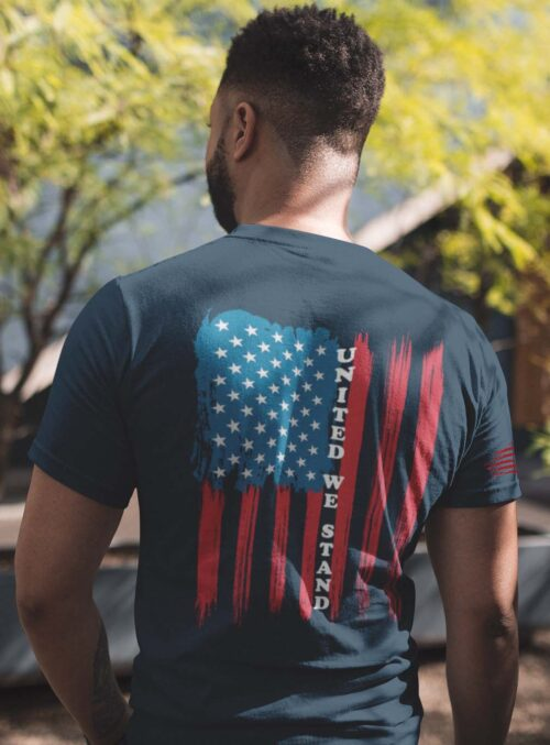 t-shirt with united we stand back on navy men's