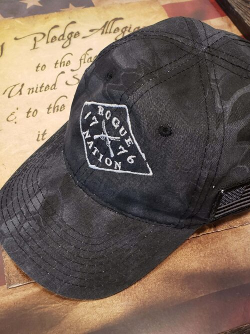 Kryptek Camo Black Fitted Hat with Rogue Nation 1776 logo
