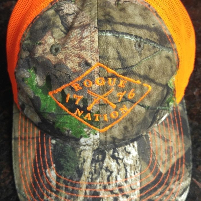 Mossy Oak Country Neon Orange Hat with the Rogue Nation 1776 logo