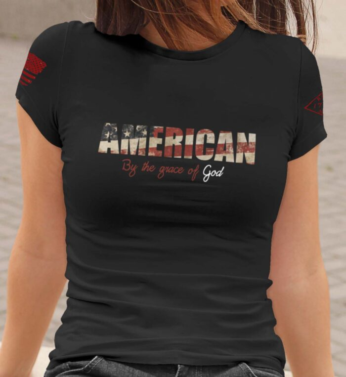 t-shirt by the grace of god on women's black