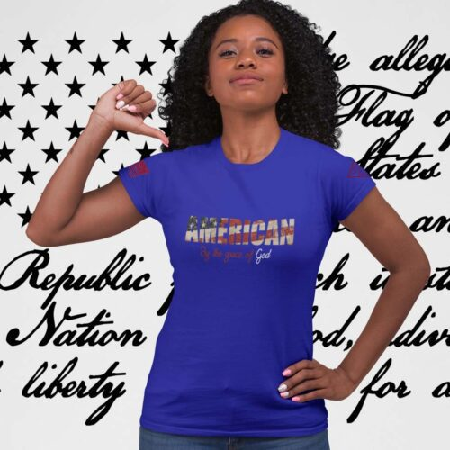 t-shirt by the grace of god on women's royal blue