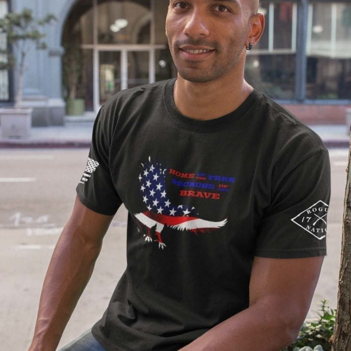 Home of the free because of the brave on men's black t-shirt