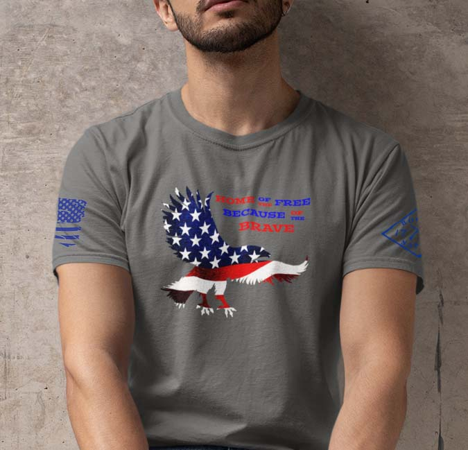 Home of the free because of the brave on men's charcoal t-shirt.