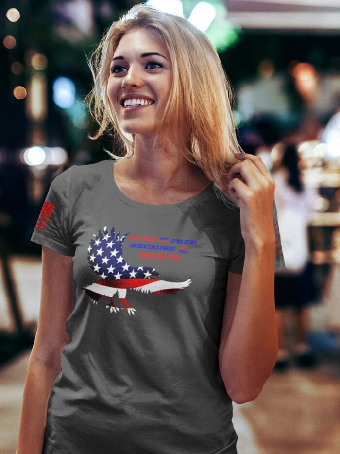 Home of the free because of the brave on women's charcoal t-shirt