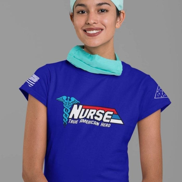 Nurse-True American Hero on women's royal blue t-shirt
