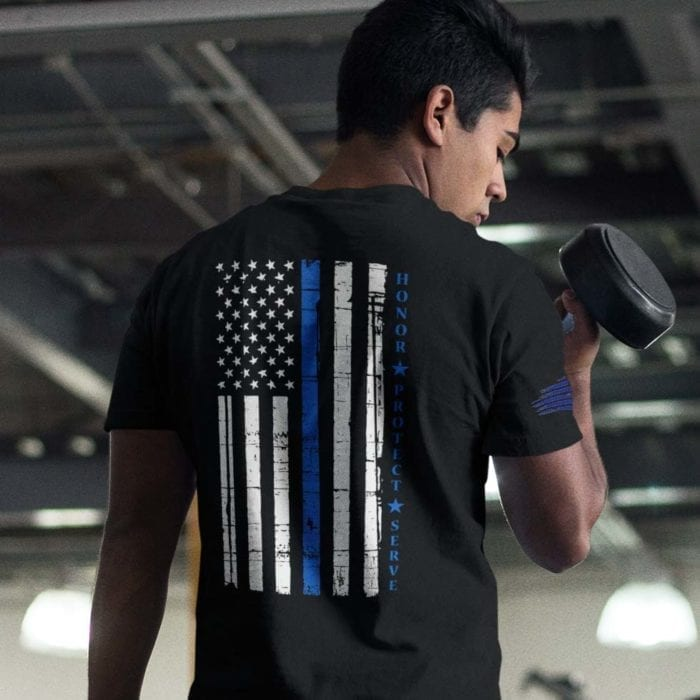 t-shirt with thin blue line flag with honor, ptotect, serve on black back mens