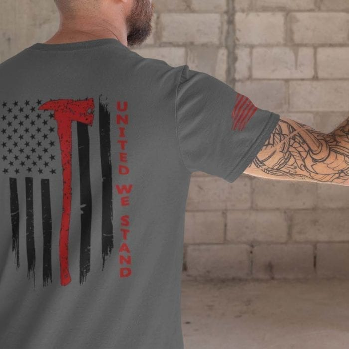 t-shirt with united we stand for firefighter on charcoal mens