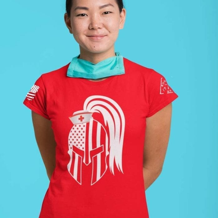 Nurse Spartan on women's red