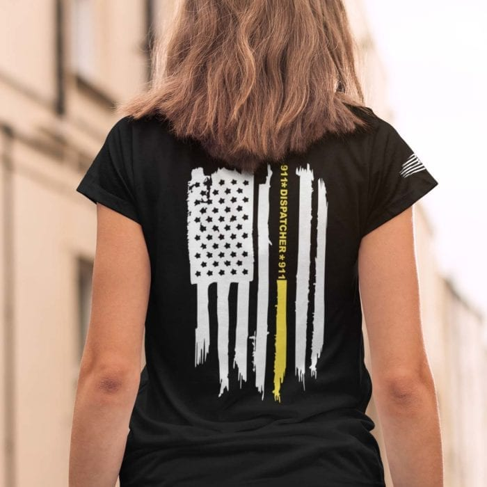 Thin gold line flag on women's black