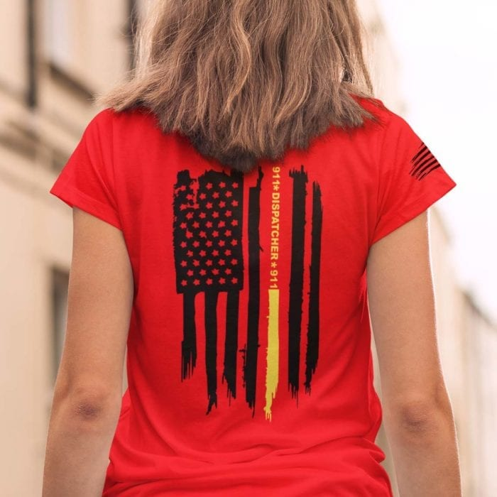Thin gold line flag on womens red