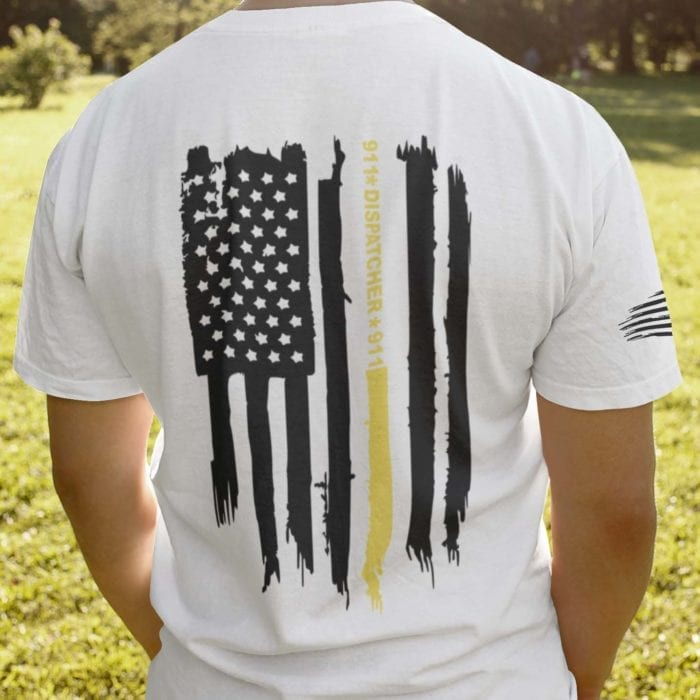 Thin gold line flag on men's white